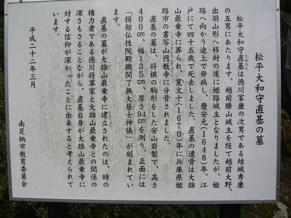 松平大和守直基の墓説明板