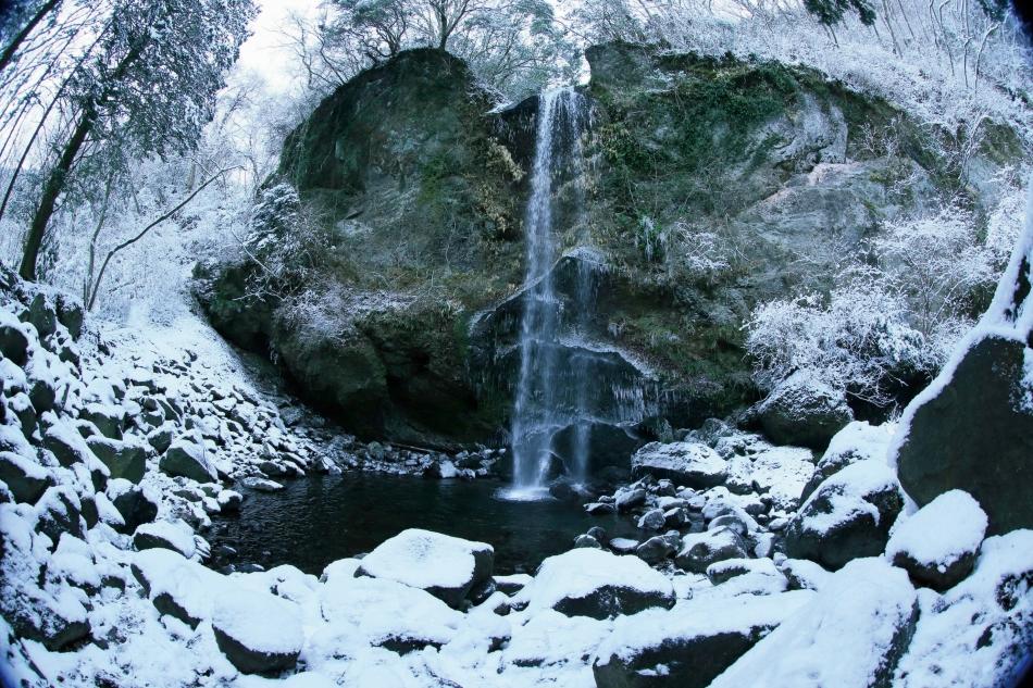 「雪化粧の滝」