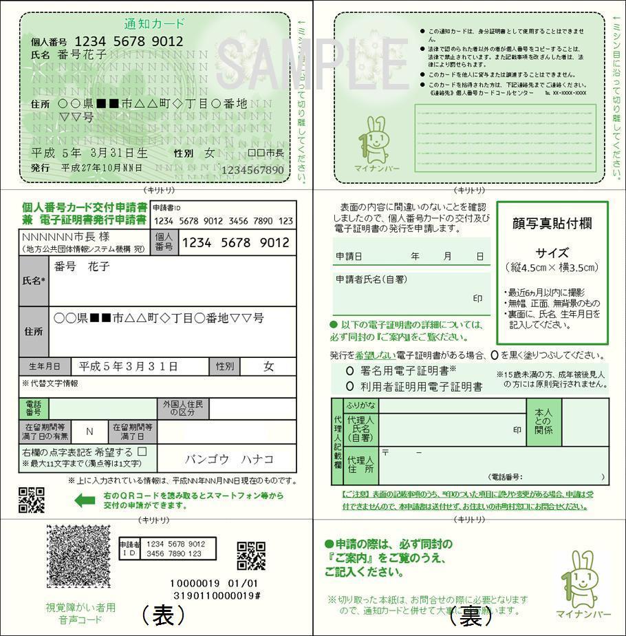通知カード(イメージ)