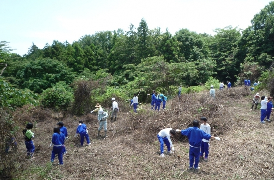 南足柄市立岡本中学校3年生の野外活動実習の補助